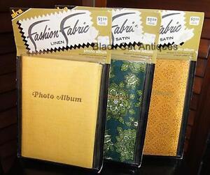 Lot-of-Three-Vintage-Original-034-Fashion-Fabric-034-Photo-Albums-New-Old-Stock