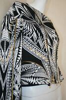 Authentic Herve Leger Jacquard Black White Gold Metal Sabah Jacket Top Sz M