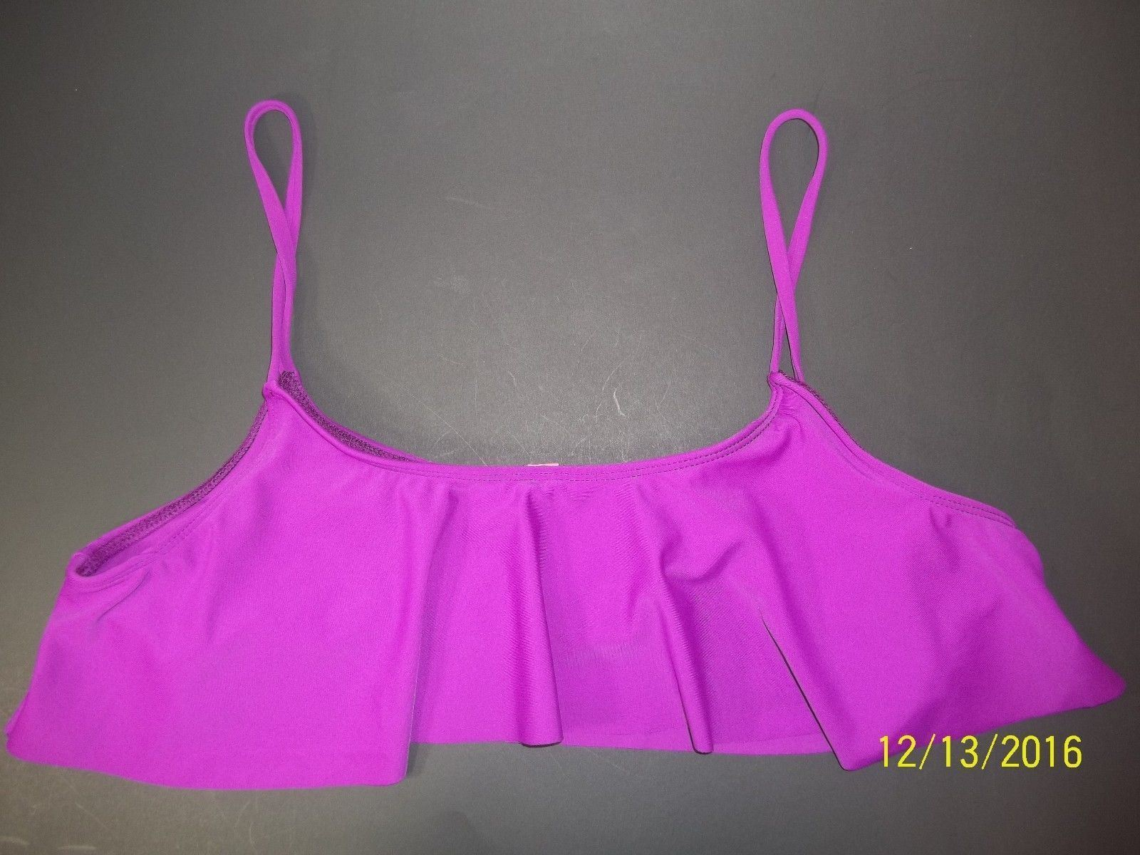 Free People Womens Large Purple Ruffle Cropped Bikini Top Spandex Nylon NWOT