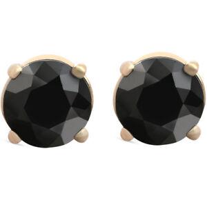 1-1-2-ct-14k-Yellow-Gold-Round-Black-Diamond-Stud-Earrings-Heated