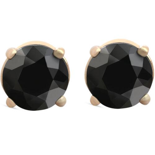 1 1//2 Ct 14k or Jaune Round Diamant Noir Clous d/'oreilles chauffée