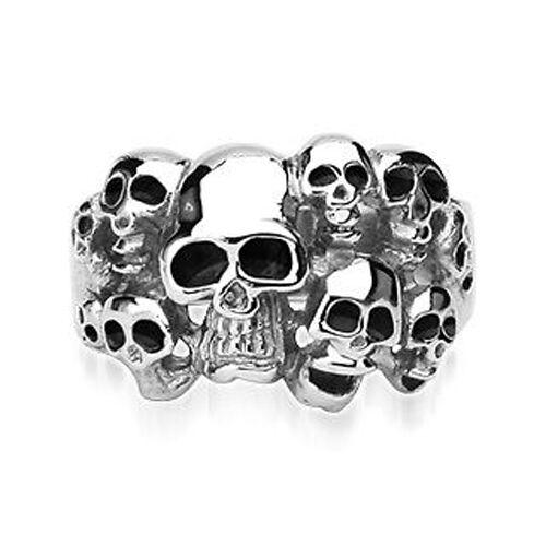 Brand New Men's Gothic Stainless Steel 10 Skull Ring