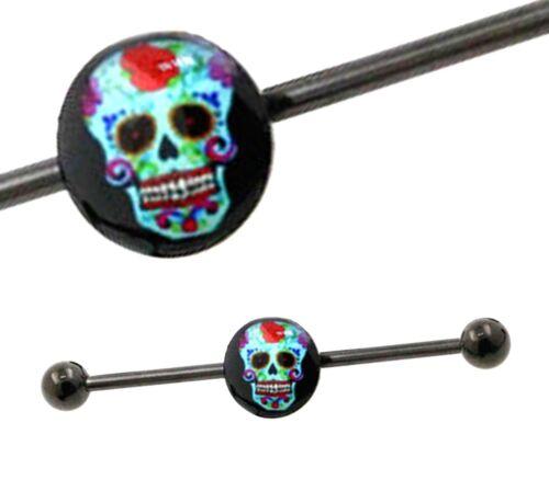 SKULL INDUSTRIAL BARBELL Black Scaffold Steel Ear Cartilage Body Piercing Bar