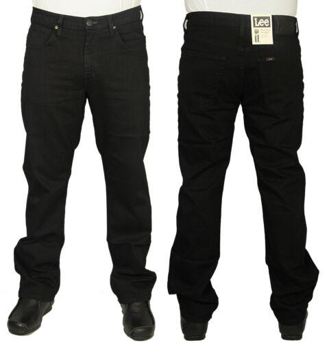 Da Uomo Lee Brooklyn Jeans Gamba Dritta Regular Fit Stretch Nero PANTS 30 a 48