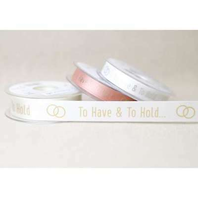 Berisfords Team Bride Hen Party White /& Rose Gold Satin Ribbon 25mm x 1m