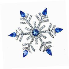 Luxury Silver & Royal Dark Blue Frozen Snowflake Brooch Pin Christmas Gift BR295