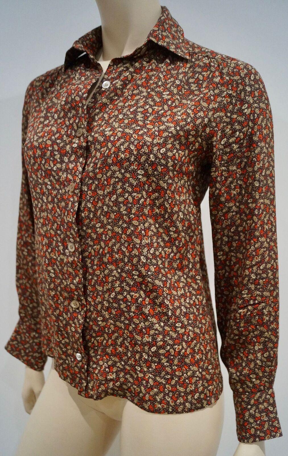 CELINE Seta Multi colore PARIS Stampa Geometrica con colletto manica lunga Blusa Top