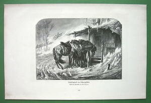 COSSACK-HORSES-in-Winter-Storm-by-Schreyer-Victorian-Antique-Print