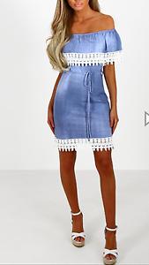 Denim Crochet Trim Bardot Mini Dress with Tie Waist Detail in Blue RRP £29.99