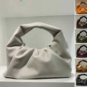 Real-Leather-Ruched-Shoulder-Pouch-Tote-Bag-Clip-on-Clutch-Purse-Vintage-Party