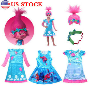 Kids Trolls Costume /& Wig Girls Princess Poppy Cosplay Outfit Fancy Party Dress