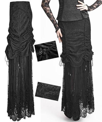 Jupe gothique lolita baroque burlesque soirée dentelle drapé plissé Punkrave
