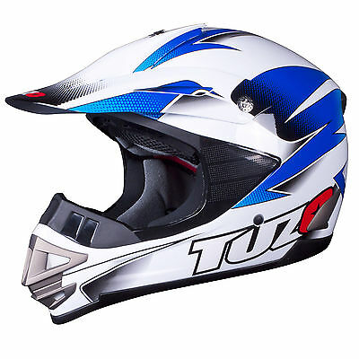 Tuzo MX3 Adult Motocross MX Enduro ATV Quad Crash Helmet White-Blue Medium