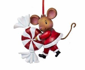 """KURT ADLER 3"""" RESIN CHRISTMAS MOUSE w/PEPPERMINT SWIRL ..."""