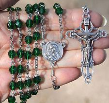 Handmade Catholic ROSARY Emerald Green GLASS prayer bead silvertone filigree
