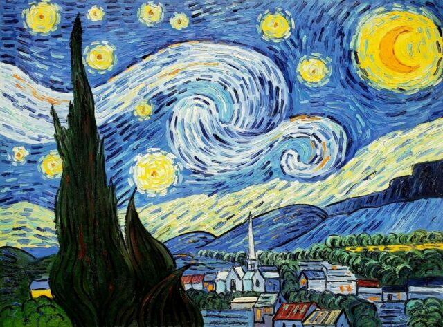 Starry Night By Vincent Van Gogh Framed Hand Painted Oil On Canvas Lpas1460 For Sale Online Ebay