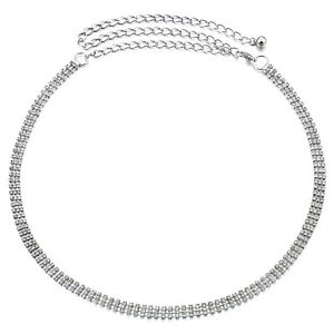 3 Row Diamante Diamond Ladies Waist Chain Charm Belt in Silver-One Size Fits All