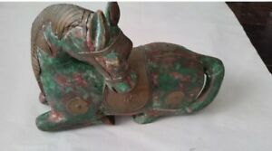 Antique-Chinese-Asian-Gild-Brass-Cooper-Wood-Carved-Horse-Statue