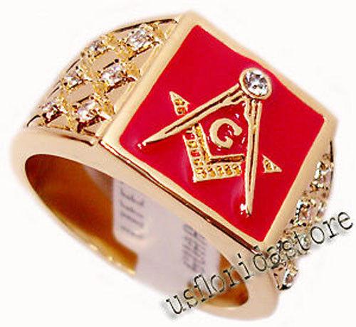 Red Bacground Masonic Mason 7st  Gold EP Mens Ring New