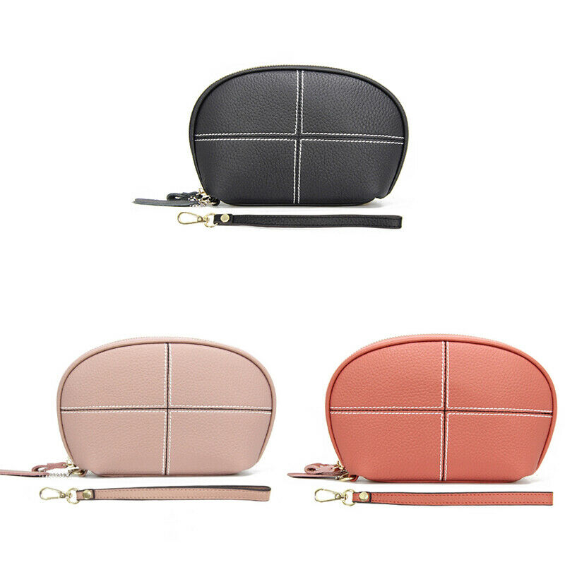 Layer of Cowhide Ladies Leather Shell Bag Car Stitching Zipper Wallet G5Y4