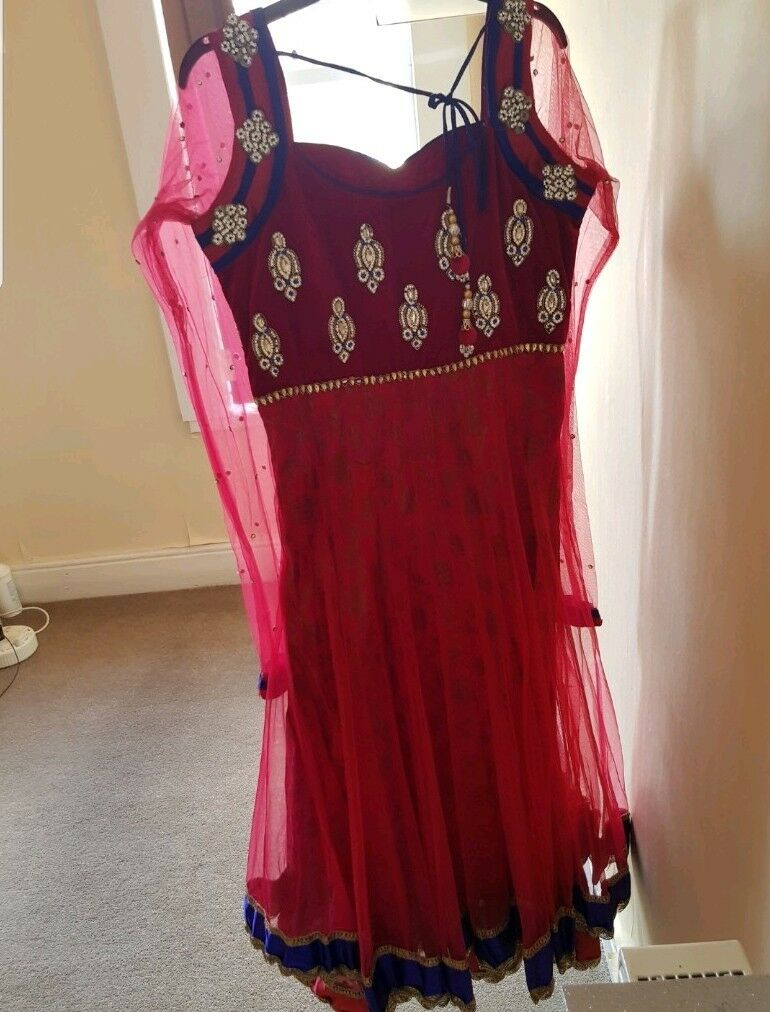 New long bluee 3 3 3 piece pink & royal bluee dress, size 8 10 with Churidhar trousers 88c543