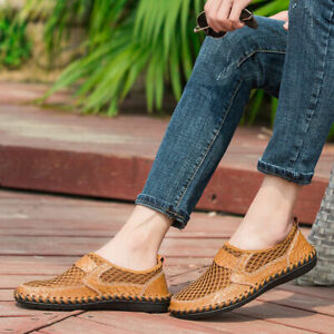 Men-039-s-Driving-Slip-on-Loafers-Leather-Summer-Breathable-Mesh-Casual-Shoes