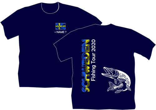 Anglershirt Schweden Sverige Angeln Angler T-Shirt Angelreisen Hechtangler 198