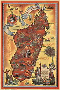 Madagascar-Mid-century-Pictorial-Map-Wall-Art-Poster-Print-Decor-Home-Office