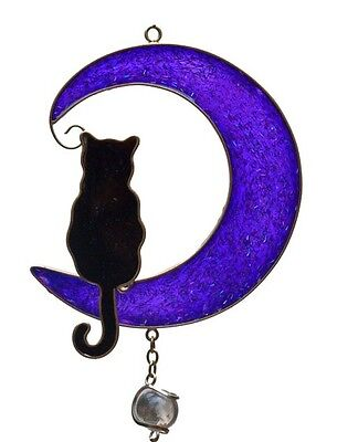 Black Cat and Purple Half Moon Wind Chime / Suncatcher / Musical Mobile * Gift