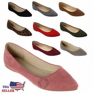 New Women's Classic En Daim à Bout Pointu Toe Ballet Flat Shoes-afficher Le Titre D'origine