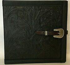 Black Western Floral Leather 2 3 Ring Binder Vintage Rope Edge Buckle Amp Keeper
