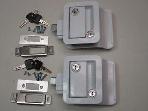 2 White Rv Entry Door Lock Handle W Deadbolt Camper