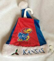 Kansas University Christmas Jayhawk Santa Hat Red & Blue Fur Trimmed W/ Tags