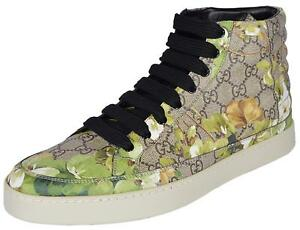 db472ec4929 NEW Gucci Men s 407342 GG BLOOMS Coated Canvas Coda High Top ...