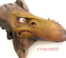 ORIGINAL WOOD SPIRIT CARVING DRAGON CREATURE FANTASY NATURAL WHIMSY NANCY TUTTLE