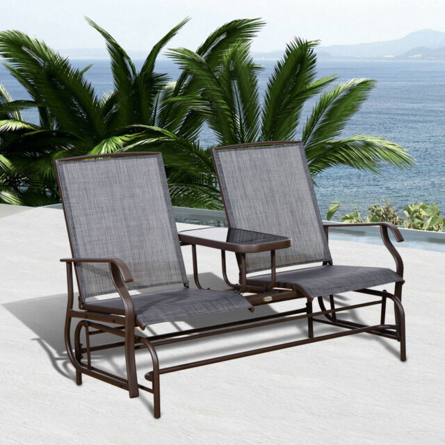 Outsunny 2 Person Outdoor Mesh Fabric Patio Double Glider Chair W Center Table