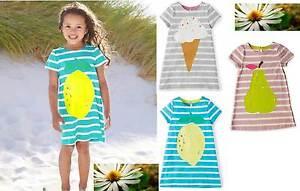 Mini-Boden-Nina-a-Rayas-Logo-Jersey-Camiseta-de-Verano-Vestido-3-Colores-Edad