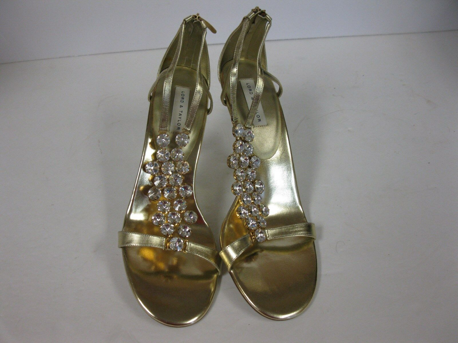 Lord & Taylor oro Strappy Sandals with Crystals Zip Zip Zip Dimensione 9.5 99498a