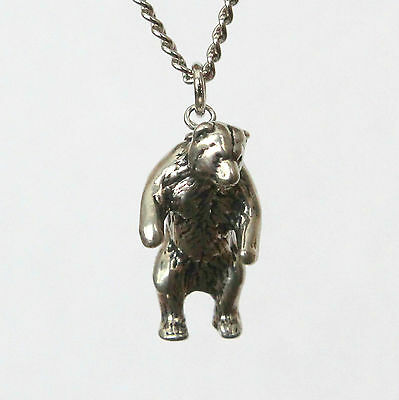 Sterling Silver Plated White Bronze Standing Grizzly Bear Pendant Necklace 125