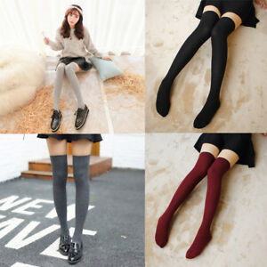 38a9174f336 Winter Warm Women Girls Striped Over The Knee Thigh High Stockings ...