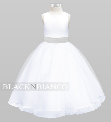 WHITE FLOWER GIRL DRESS With Removable Silver Bow Flower and Sash Wedding