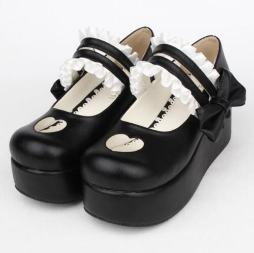 da alla Shoes donna Lolita Punk Cosplay Piattaforma Bowtie caviglia cinturino Womens College Fd7tnq