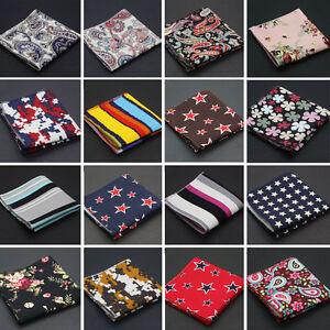 Men-Linen-Cotton-Pocket-Square-Handkerchief-Hanky-Stripe-Floral-Stars-Paisley