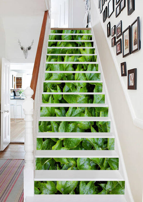 3D Grün plants 36 Stair Risers Decoration Photo Mural Vinyl Decal Wallpaper UK