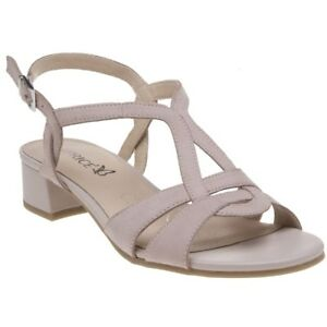 31cc4152955d New Womens Caprice Pink Nude 28201 Leather Sandals Mid Heels Buckle ...