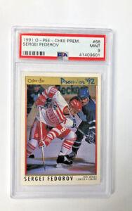 1991-92-O-Pee-Chee-Premier-68-Sergei-Fedorov-Detroit-Red-Wings-PSA-MINT-9