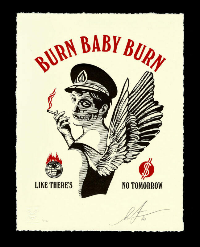 Obey Shepard Fairey BURN BABY BURN Letterpress X/450 Signed LE IN HAND on eBay thumbnail