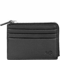 Scully Leather Rfid Protected Zip Credit Card Case Wallet With Key Black