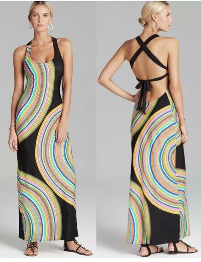NWT Sz Large L Trina Turk Sombrero Maxi Dress Swim Cover Gorgeous