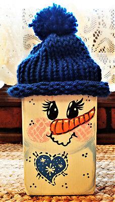 DISTRESSED 3 Pc Welcome Winter WOOD BLOCK Shelf Sitter RUSTIC Set Snowman Winter